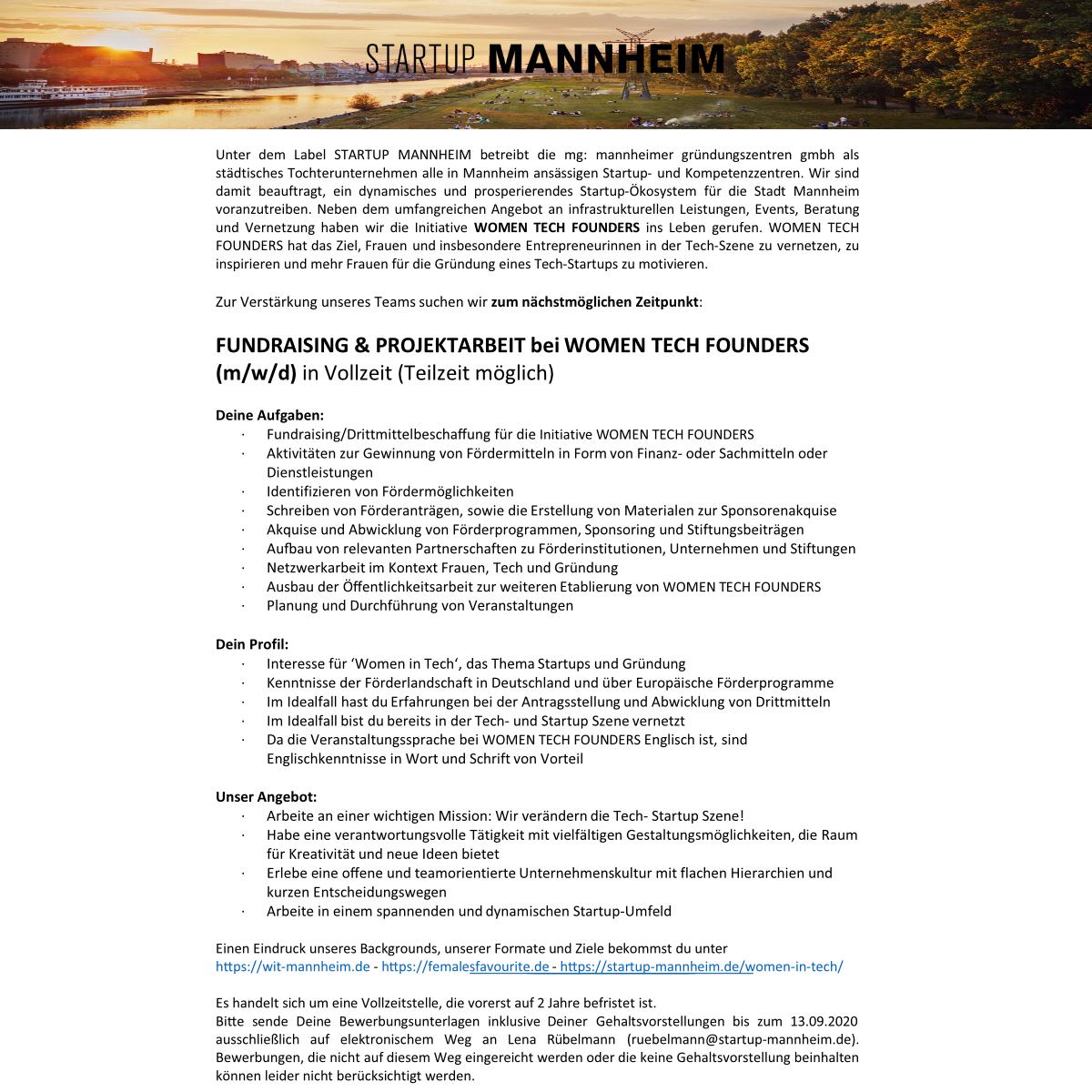 Stellenausschreibung WTF- Fundraising & Projektarbeit 2020.