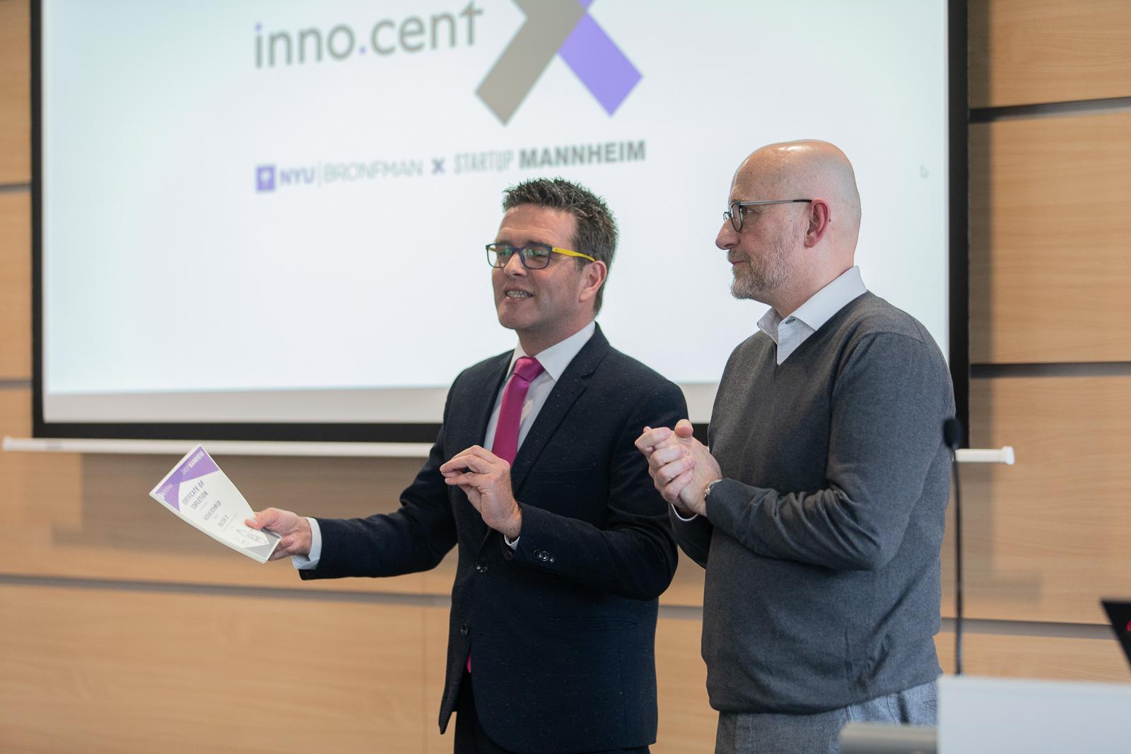 Die Initiatoren des Projektes, Prof. Dr. Nir Tsuk und NEXT Mannheim Geschäftsführer Christian Sommer