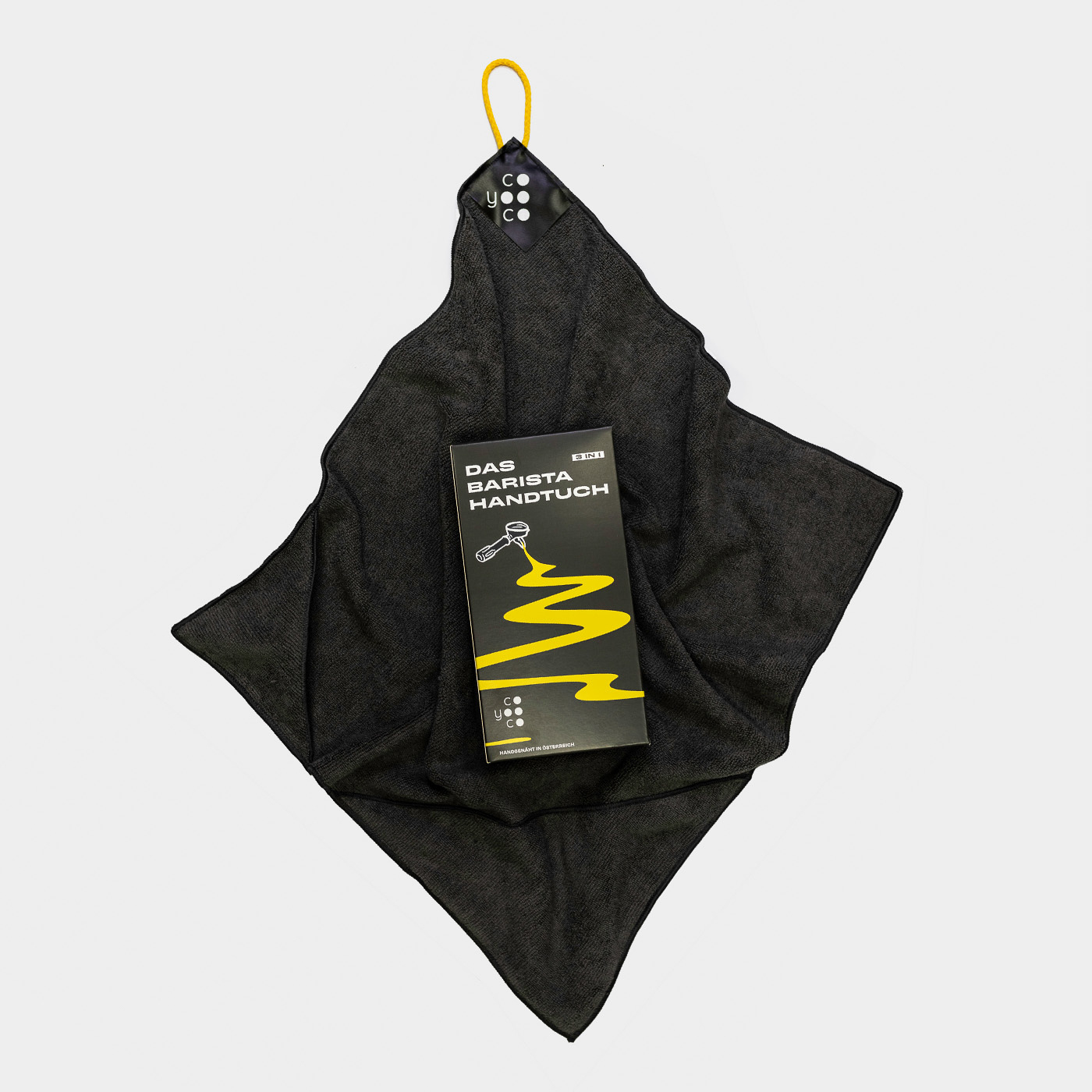 Clevere 3-in-1 Lösung: Das Barista-Tuch von Coyooco. Damit wird alles in einem Schritt sauber
